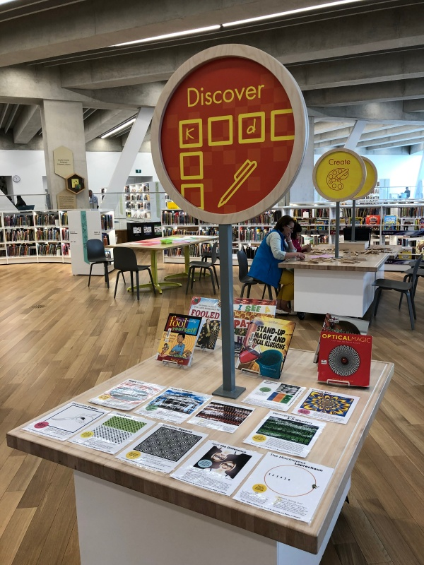 Curated children's book display, Calgary Public Library